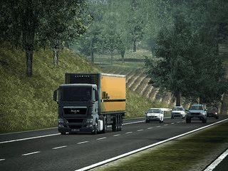 Steuern Sie Ihren LKW über deutsche Straßen und Autobahnen.