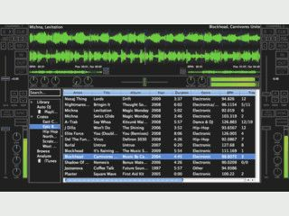 Zweispur-DJ Software mit Unterstützung für verschiedene Konsolen.