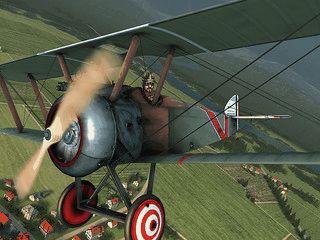 Oldtimer-Flugzeuge und Zeppeline in einer 3D Welt.