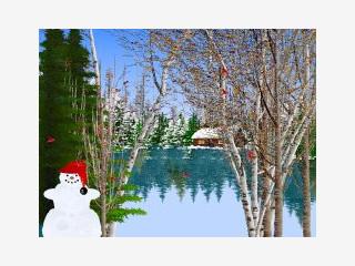 Einige schöne Zeichnungen von Winterlandschaften und echter Schneefall.
