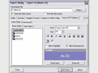 Komponente zum Export von Daten in verschiedene Formate.