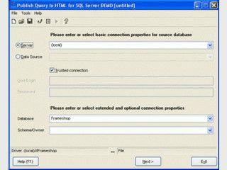 Microsoft SQL Server Abfragen in HTML ausgeben.