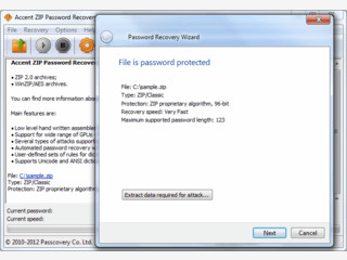 Passwörter von ZIP-Dateien knacken. Optionale Nutzung der GPU.