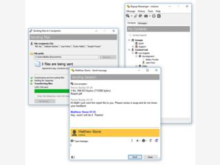 Sendet und empfängt persönliche, Gruppen-Mitteilungen und Dateien