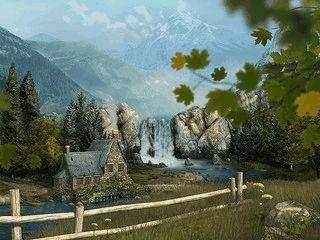 Ein animierter Wasserfall in einer leicht surreal wirkenden landschaft