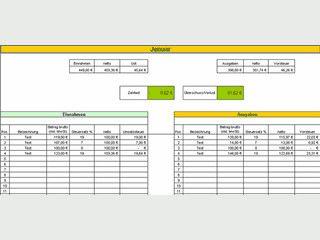 Einnahmen- Überschussrechner auf MS Excel-Basis