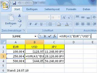 Add-In erweitert MS Excel zur Umrechnung von 33 tagesaktuellen Währungen.