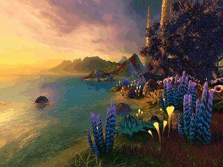 Wunderschöner 3D-Bildschirmschoner mit außerirdischer Pflanzenwelt.