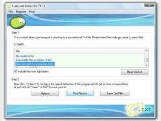 Dateilisten aus einem Verzeichnis als Textdatei exportieren.