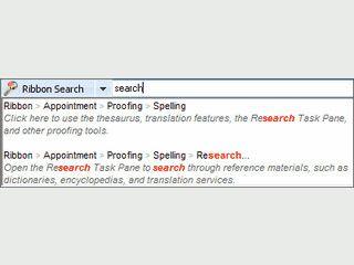 Durchsuchen Sie das Microsoft Office Ribbon und die Optionen.
