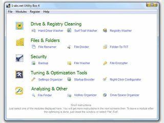 Toolsammlung mit Funktionen zur Reinigung und Optimierung von Windows.