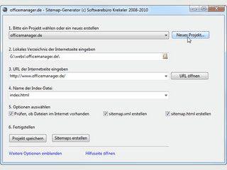 Software für die Erzeugung von XML- und HTML-Sitemaps von lokalen Webseiten