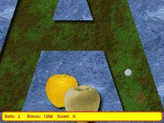 Minigolf Simulation in der die Bahnen aus den Buchstaben des ABC gebaut sind.