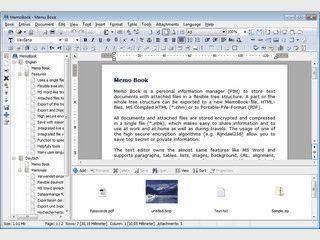 Speichert strukturierte Textdokumente mit Dateianhängen in einer Datei.