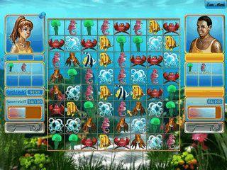 Match-3 Game in dem Fisch- und Unterwasserbilder gruppiert werden.