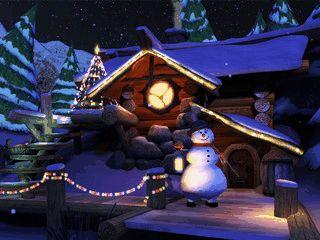Detailverliebte Winterlandschaft die das Haus von Santa Claus zeigt.