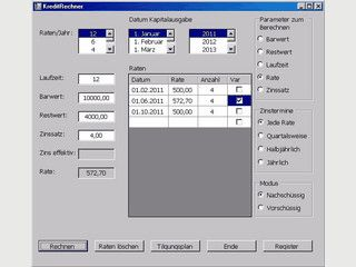 Einfacher Rechner für Kreditverläufe und Tilgungspläne.