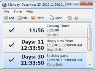 Countdown-Timer für nahezu beliebig viele Termine.