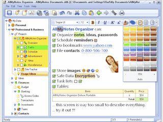 Gut ausgestattete Software zur Verwaltung beliebiger Informationen.