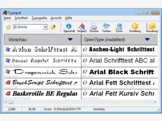 Deutscher Schriften-Manager für OpenType, TrueType, Type1 und Drucker-Schriften