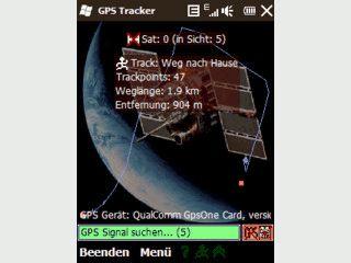 Zeichnet zurückgelegte Wege mit Hilfe eines GPS-Empfängers auf.