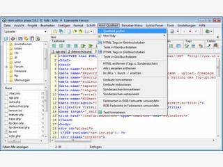 Guter kostenloser Quelltext HTML Editor mit integrierter Projektverwaltung.