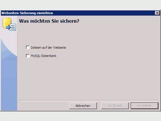 Die Sicherung für Dateien und Datenbanken von Webseiten