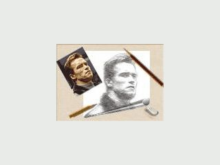 Bilder von Hollywood Stars werden als Bleistift-Zeichnungen gezeichnet.