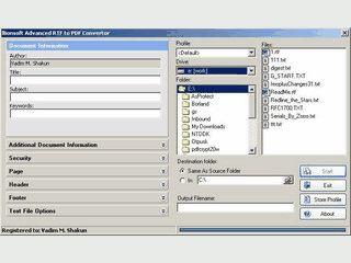Einfache Konvertierung von Text und RTF Datein in das PDF Format.