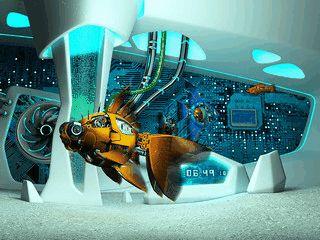 3D-Aquarium mit mechanischen Fischen umgeben von futuristischen Formen