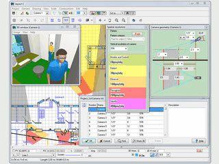 Software zur Planung des Einsatzes von Überwachungskameras in Gebäuden.