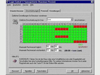 Zugangsschutz für Windows 95/98/ME PCs mit Zeitkontrolle