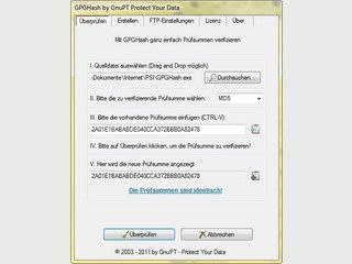 Grafisches Tool mit dem Sie GnuPG Prüfsummen erstellen und prüfen können.