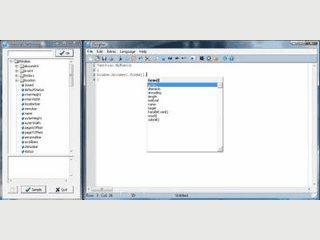 Editor für Javascript Entwicklung mit Codevervollständigung und Script-Referenz