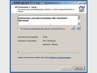 Microsoft .Net Framework 4 Web-Installer installiert erforderliche Komponenten