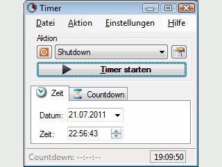 Timer zum Starten von Anwendungen, Beenden und Neustarten von Windows.