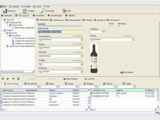 Verwaltung von Weinen und Weinflaschen mit umfangreichen Extras