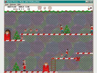 Weihnachtsplattformspiel mit Superheld Marty in der verrückten Welt Byteria.