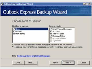 Schritt für Schritt Sicherung von Outlook Express Daten.