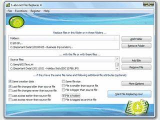 Suchen und Ersetzen von Dateien mit Hilfe verschiedener Kriterien.