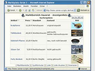 PHP-Script für einen Kleinanzeigen-Markt auf Ihrer Webseite.
