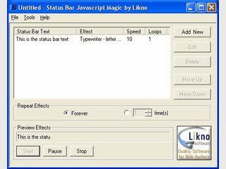 Tool um JavaScript Laufschriften für die Statuszeile zu erzeugen.