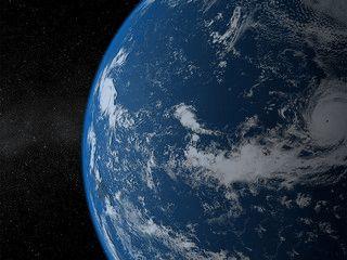 Eine animierte 3D Darstellung der Erde als Bildschirmschoner