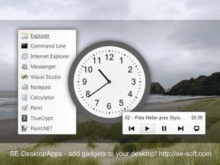 Analog-Uhr, Notizen, Audio-Player und Schnellstarter für den Desktop.