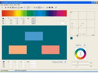 Zur eingegebenen Farbe findet der Farbwähler harmonisch kontrastierende Farben