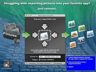 Konvertiert stapelweise Bilder aus und in über 100 verschiedene Formate.