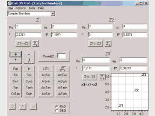 Rechner für Vektor, Matrix, Koordinaten, komplexe Zahlen, Funktionen zeichnen.