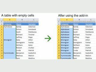 Automatisches Ausfüllen von Werten in Tabellen.