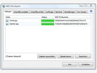 MD5 Prüfsummen von Dateien erstellen, speichern und vergleichen
