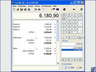 Kaufmännischer Tischrechner mit Kontrollstreifen und Steuerberechnungsfunktionen